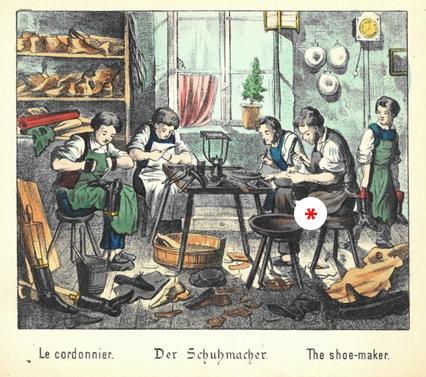 """Obuvnícka dielňa (Z knihy """"Čím chceš byť?"""", r. 1880), Zdroj: Wikipedia"""